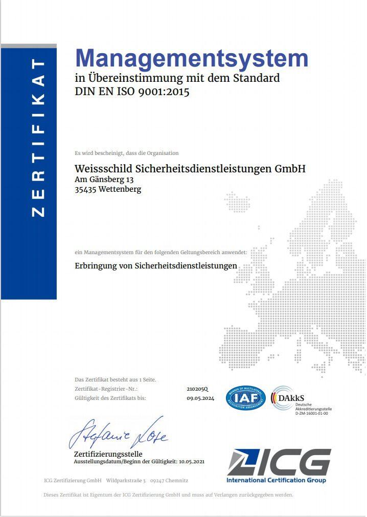 Weissschild Zertifikat